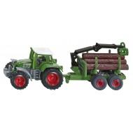 Siku Tractor met bosaanhangwagen 1:87
