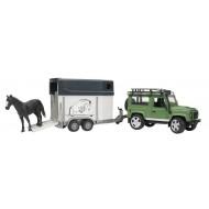 Bruder Land Rover Defender met paardentrailer en paard 1:16