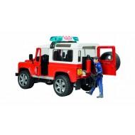 Bruder Land Rover Defender Brandweerauto met brandweerman 1:16