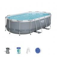 Bestway zwembad power steel set ovaal grijs 427 cm