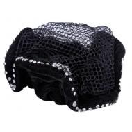QHP haarnetje Velvet zwart/zilver