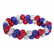 QHP knotband strass rood/wit/blauw
