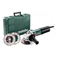 Metabo haakse slijper WEQ 1400-125 met 2 diamantschijven, in een kunststof koffer