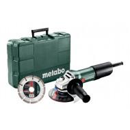 Metabo haakse slijper W850-15 met kunststof koffer en diamantdoorslijpschijf
