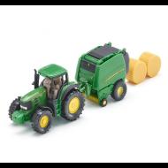 Siku John Deere tractor met balenpers 1:87